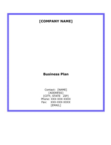 Business plan and sample or template